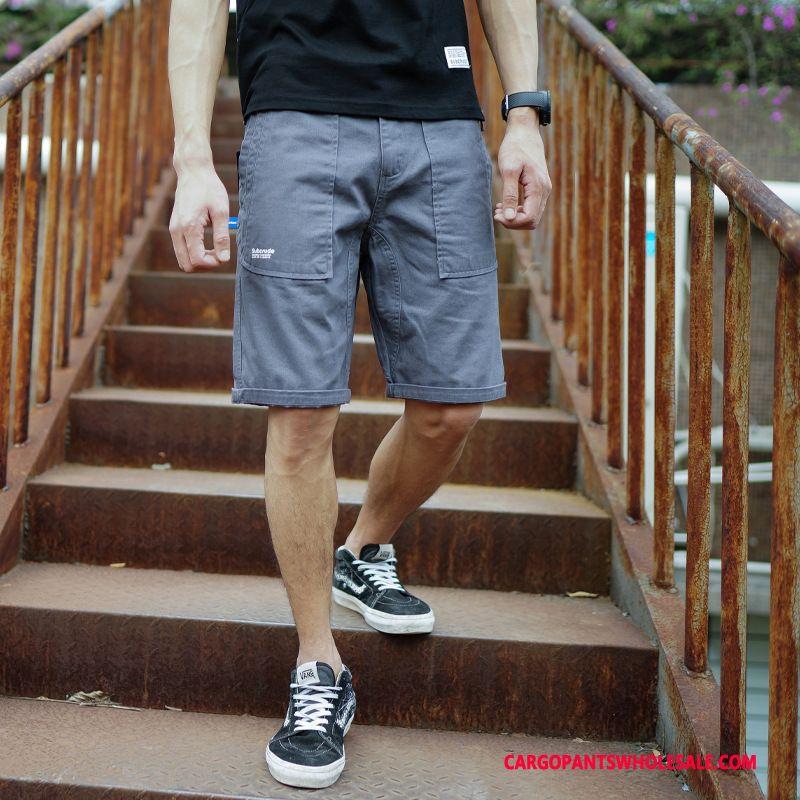 Cargo Shorts Male Khaki Shorts Loose Summer Cargo Tide Brand