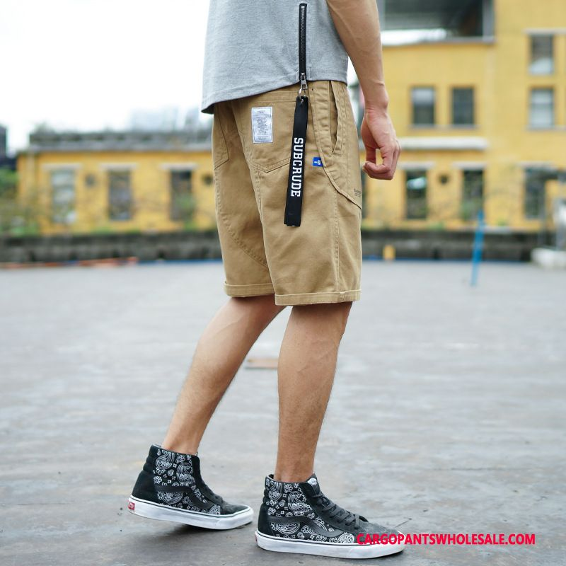 Cargo Shorts Male Khaki Shorts Loose Summer Cargo Tide Brand