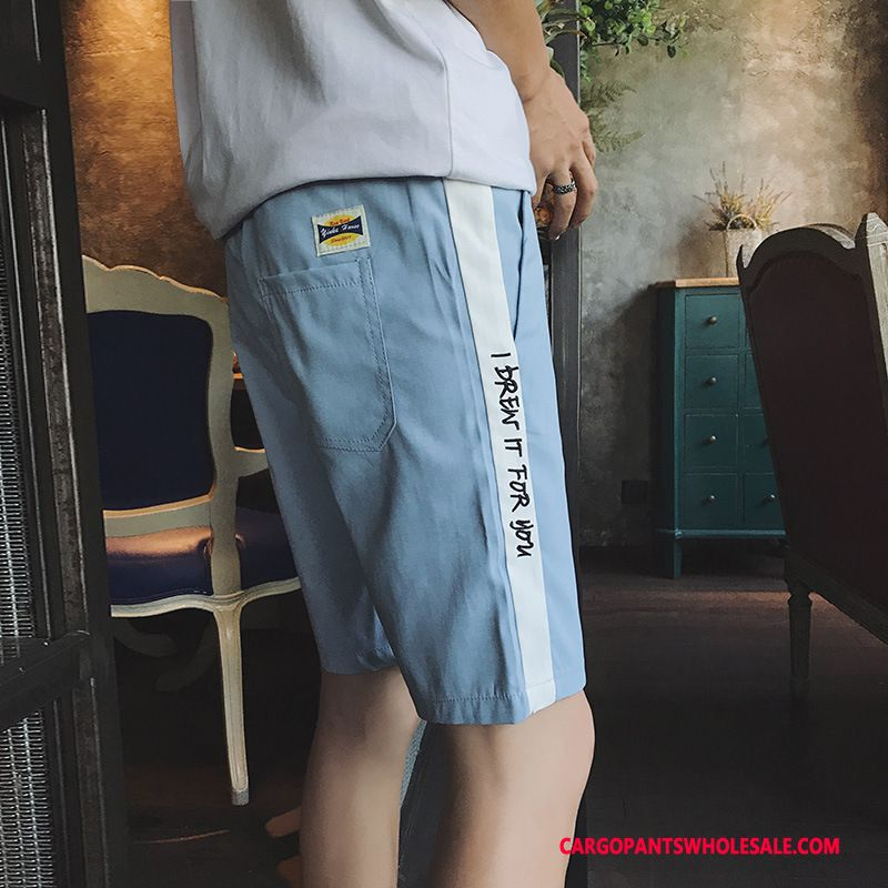 Cargo Shorts Male Light Blue Summer Pants Shorts Medium Leisure