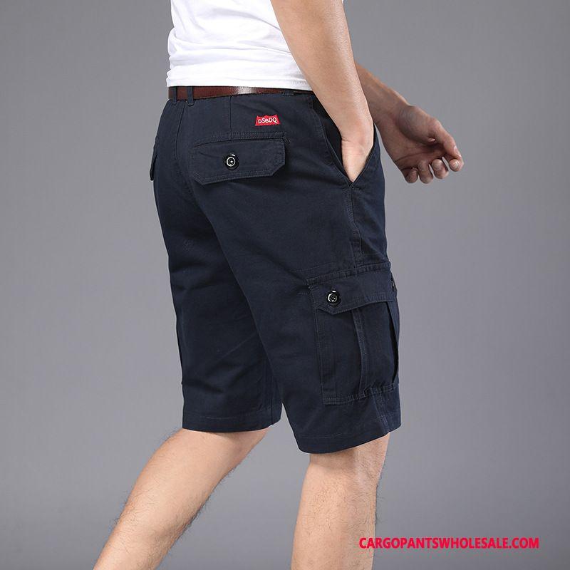 Cargo Shorts Male Navy Blue Green Cargo Pants Summer Beach Shorts Multi-pocket