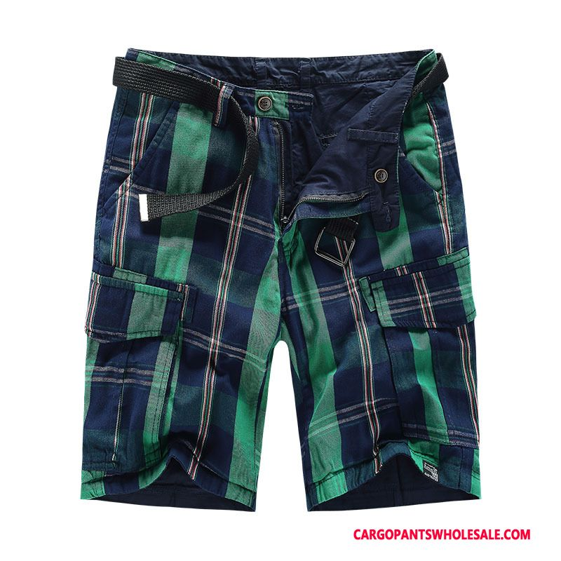 Cargo Shorts Male Navy Blue Green Large Size Lattice Double Sided Cotton Military
