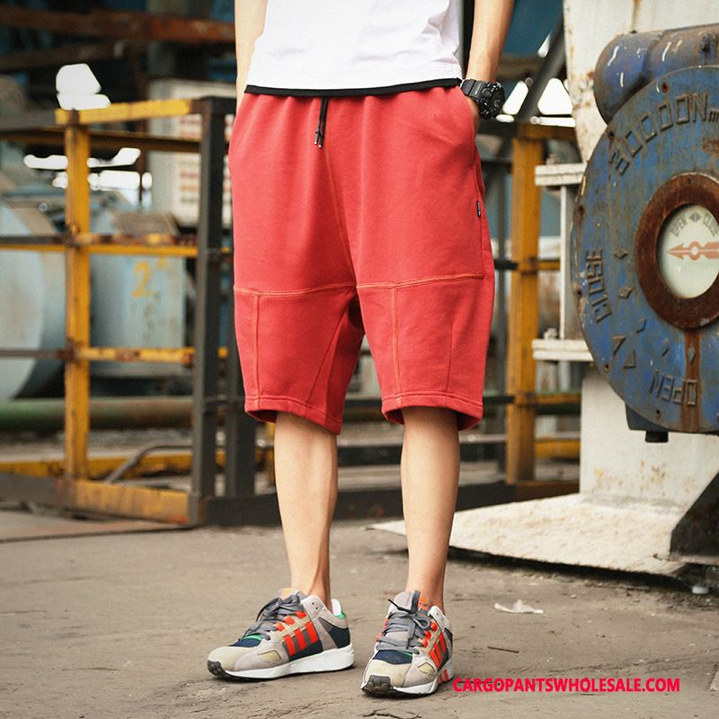 Cargo Shorts Male Red Cargo Pants Shorts Men Men Loose Casual Pants Trend