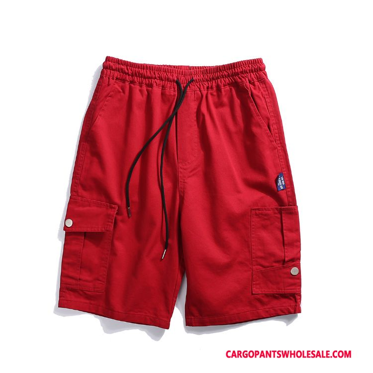 Cargo Shorts Male Red Cargo Tide Brand Loose Trend Pocket