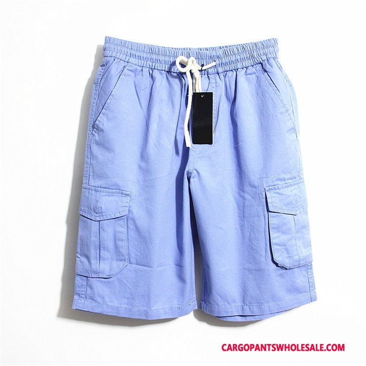 Cargo Shorts Male Red Cotton Multiple Pockets Men Soft Shorts Thin Section