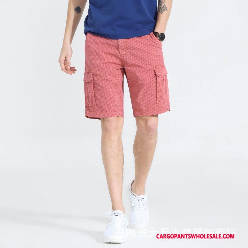 Cargo Shorts Male Red Green Powder Pants Leisure Juvenile Multi-pocket Shorts