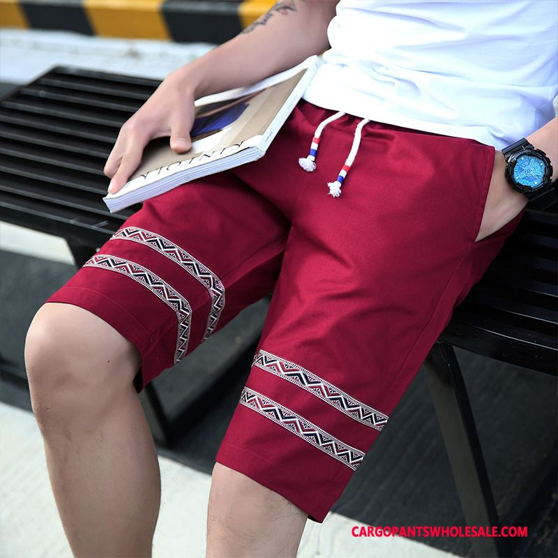 Cargo Shorts Male Red Loose Cotton Men Washed Solid Color Cargo