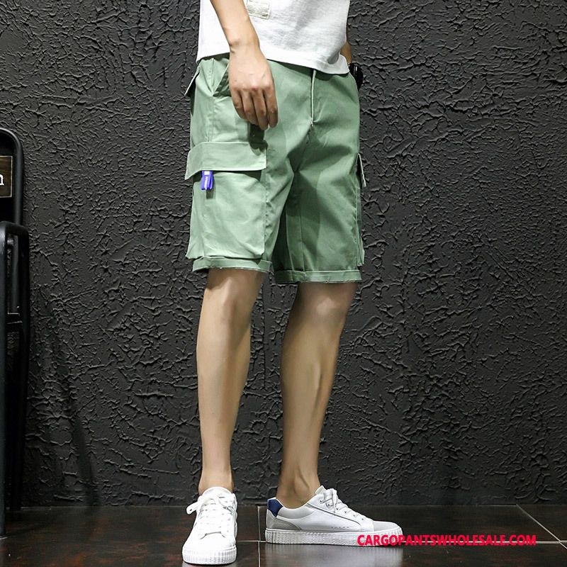Cargo Shorts Male Red Loose The New Men Multi-pocket Shorts Cargo Pants