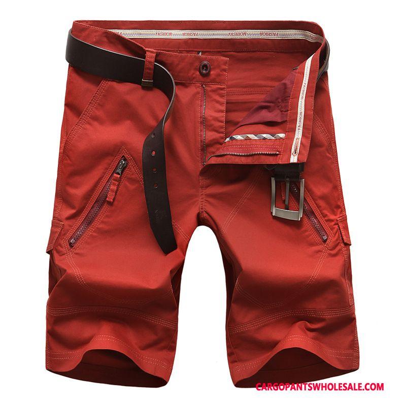Cargo Shorts Homme Rouge Multi-poche Baggy Homme Pantalon Cargo Short Casual