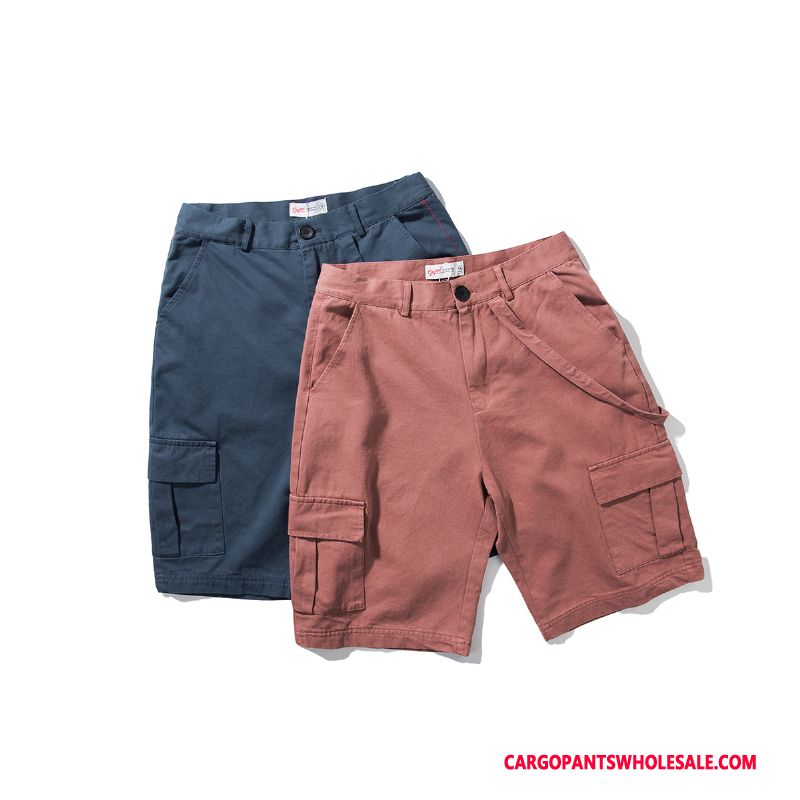 Cargo Shorts Male Red Ribbon Tide Decoration Shorts Loose