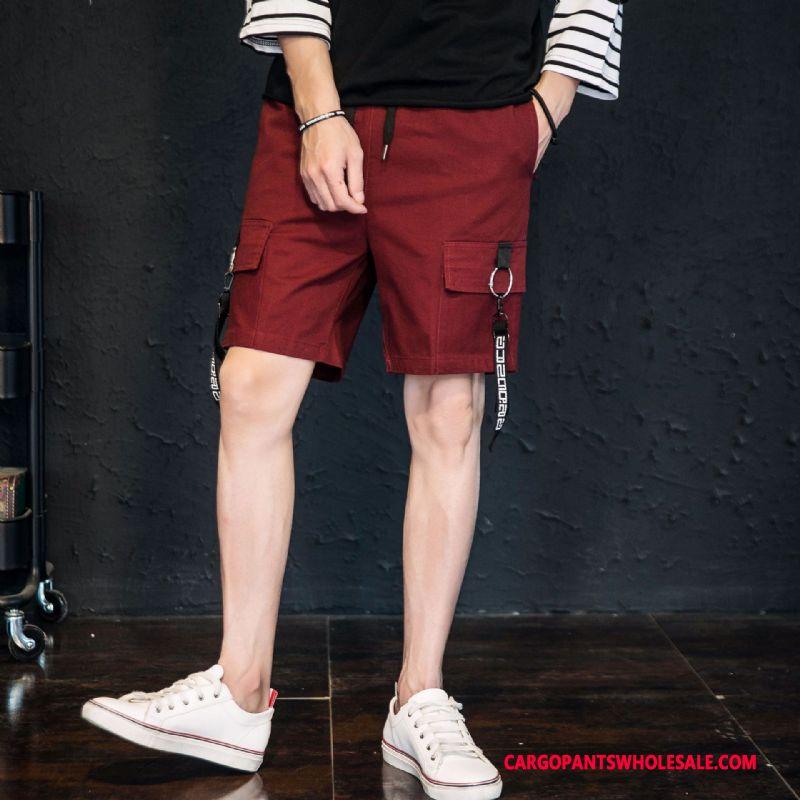 Cargo Shorts Mænd Rød Personlighed Casual Bukser Shorts Cargo Studerende
