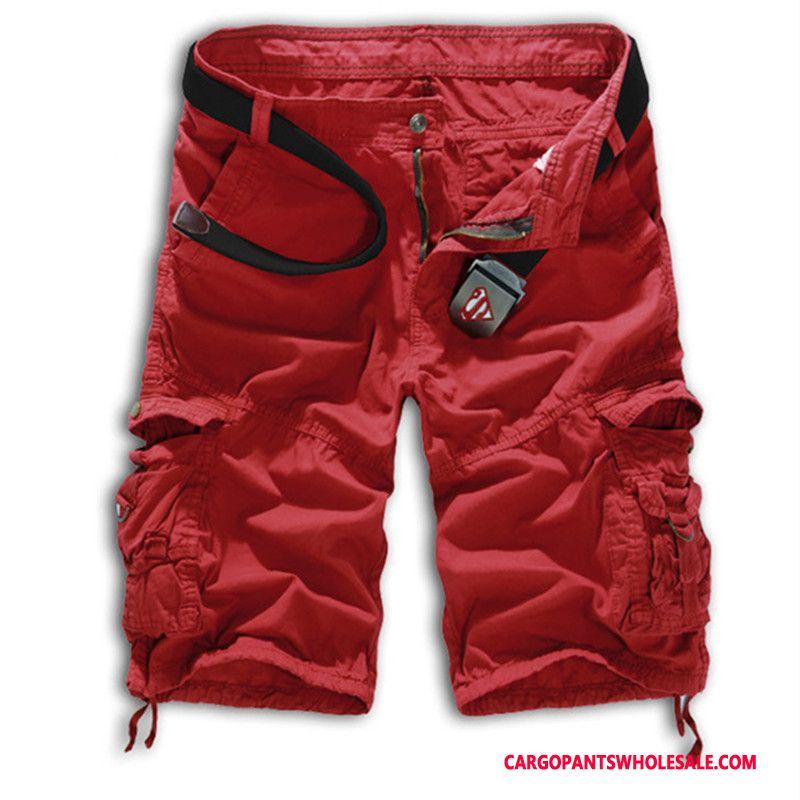 Cargo Shorts Mænd Rød Brede Sommer Store Størrelser Shorts Cargo Bukser