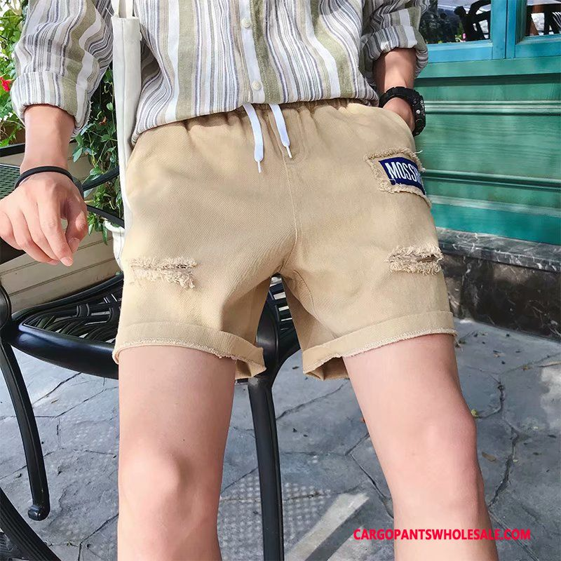 Cargo Shorts Male White Trend Letter Loose Cargo Pants Hole