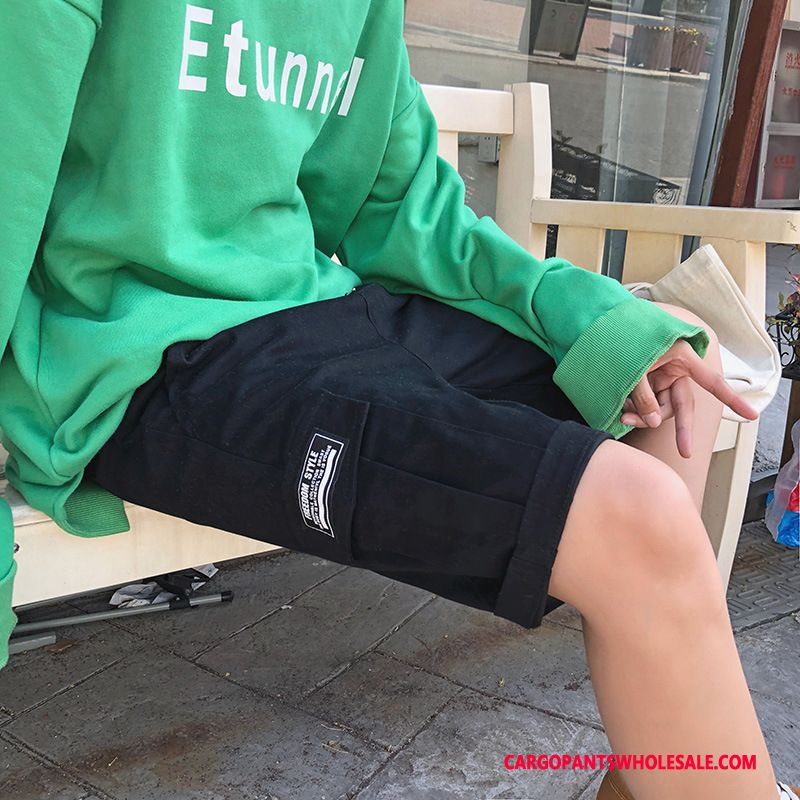 Cargo Shorts Male Yellow Cargo Pants Men Loose Trend All Match