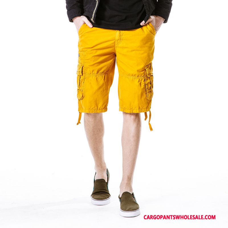Cargo Shorts Male Yellow Cargo Pants Thin Section Men Loose Tide Summer