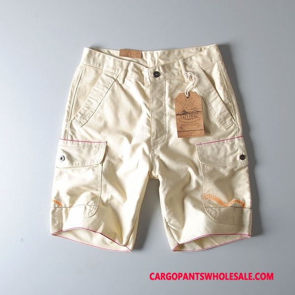 Cargo Shorts Male Yellow Casual Pants Shorts Summer Cargo Cotton