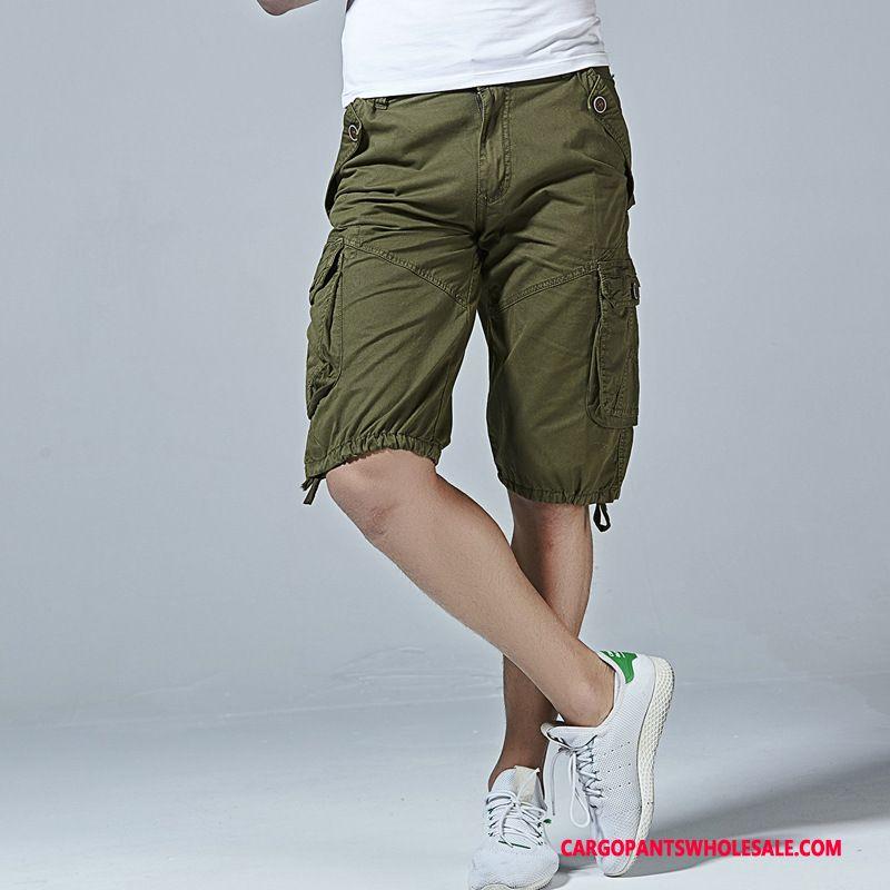 Cargo Shorts Men Army Green Cotton Large Size Shorts Cargo Medium