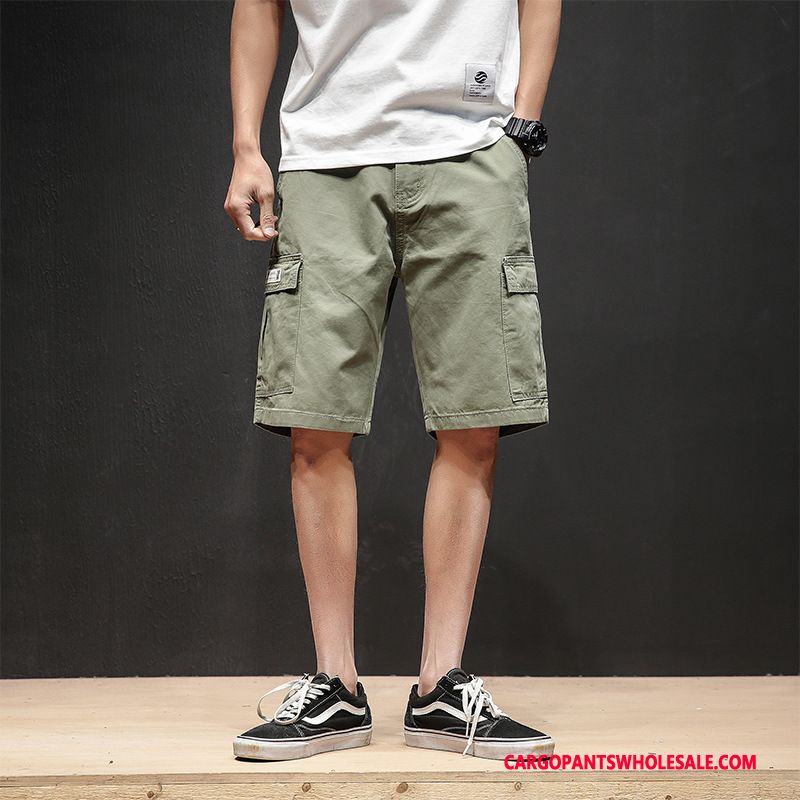 Cargo Shorts Men Army Green Green Loose Summer Pants Leisure Thin Section
