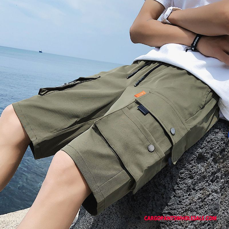 Cargo Shorts Men Army Green Green Summer Solid Color Loose Shorts Pants