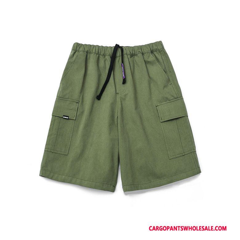 Cargo Shorts Herre Army Grøn Europa Cargo Casual Bukser Trendy Flere Lommer