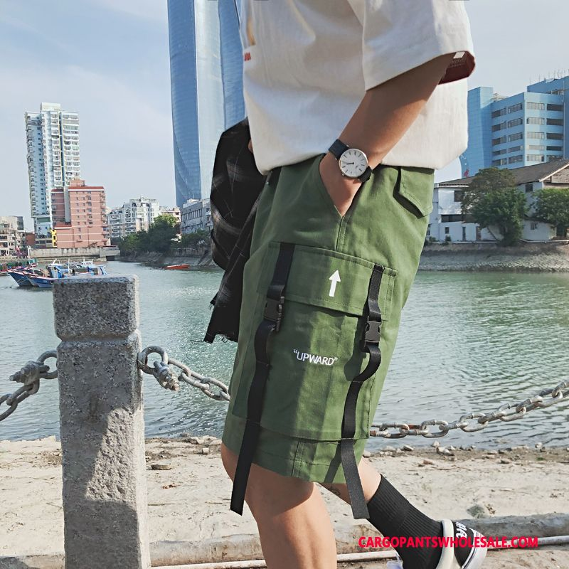 Cargo Shorts Herre Army Grøn Brede Trend Shorts Fritids Strand