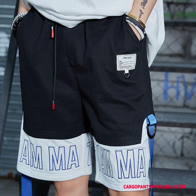 Cargo Shorts Men Black Casual Pants Shorts Cargo Pants Plus Size Ribbon