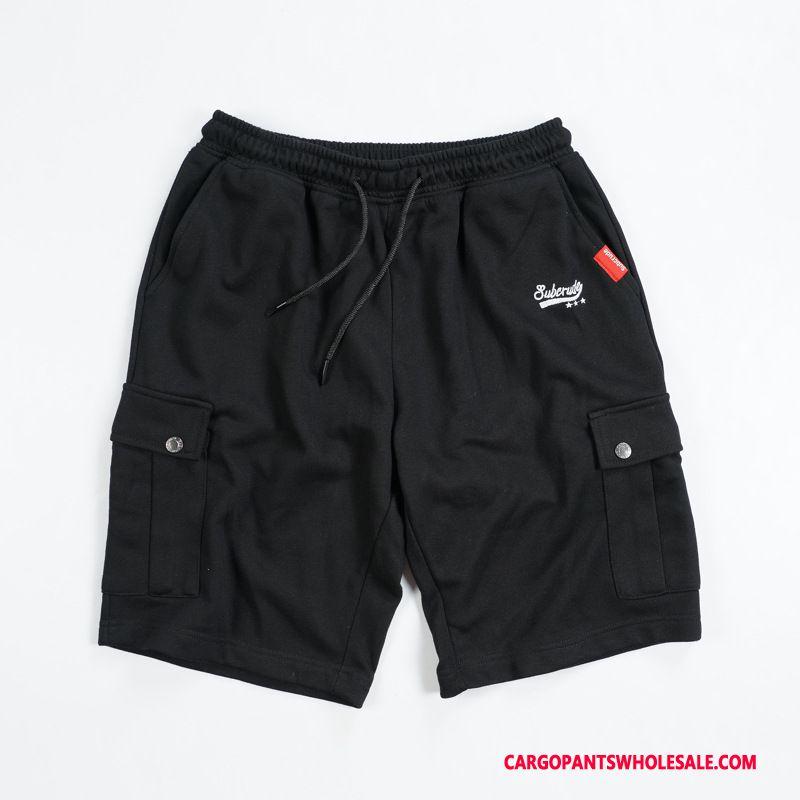 Cargo Shorts Men Black Green Japanese-style Cargo Juvenile Multiple Pockets Summer