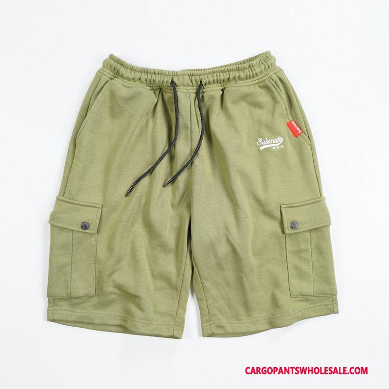 Cargo Shorts Herre Sort Cyan Flere Lommer Bukser Cargo Trendy Original