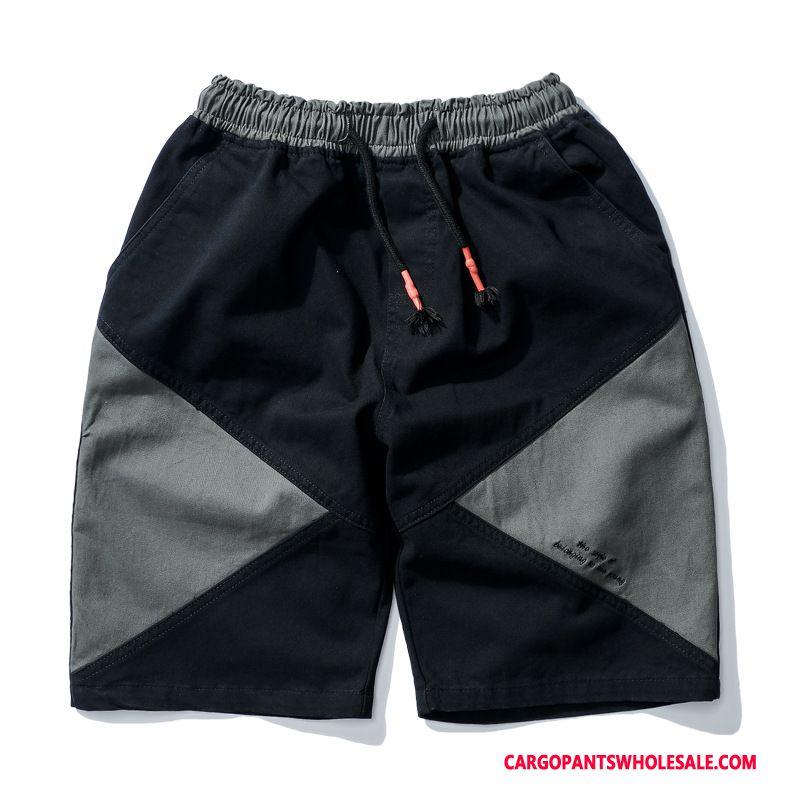 Cargo Shorts Herre Sort Cyan Splejsning Ren Trend Brede Studerende
