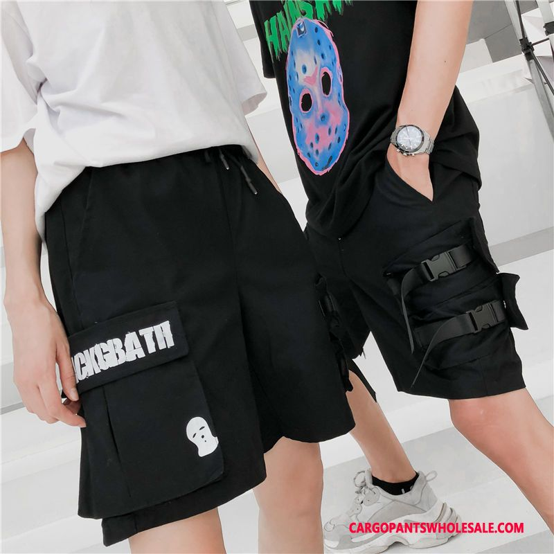Cargo Shorts Herre Sort Trendy Shorts Brede Stor Lomme Hip-hop