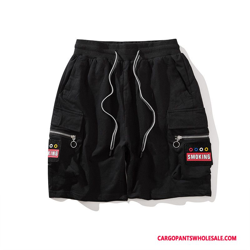Cargo Shorts Men Black Hip Hop Shorts Tide Brand Summer Multi-pocket