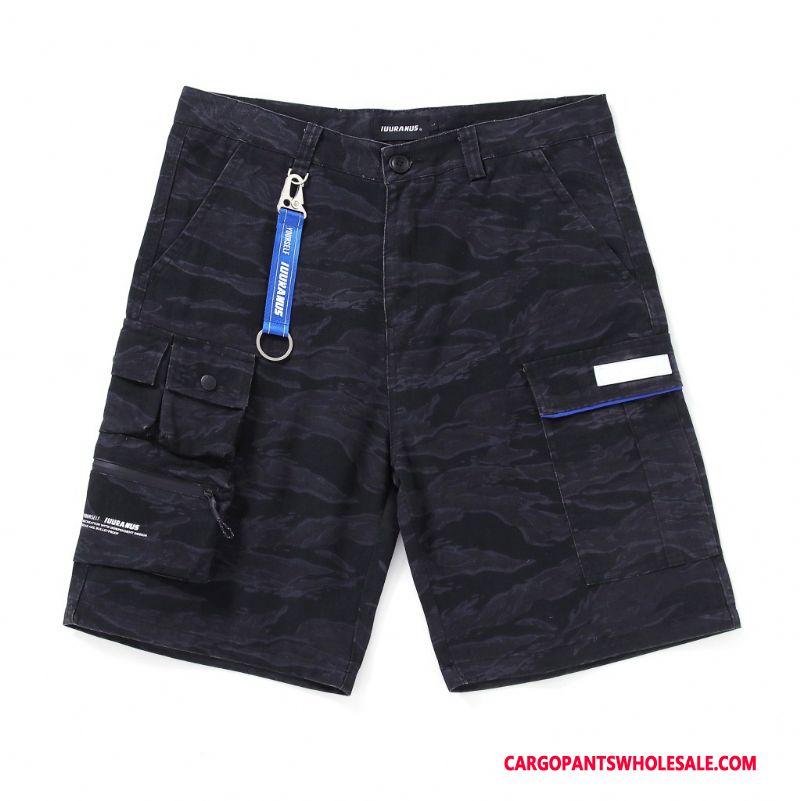 Cargo Shorts Homme Noir Nouveau Pantalons Cargo Broderie Marque De Tendance
