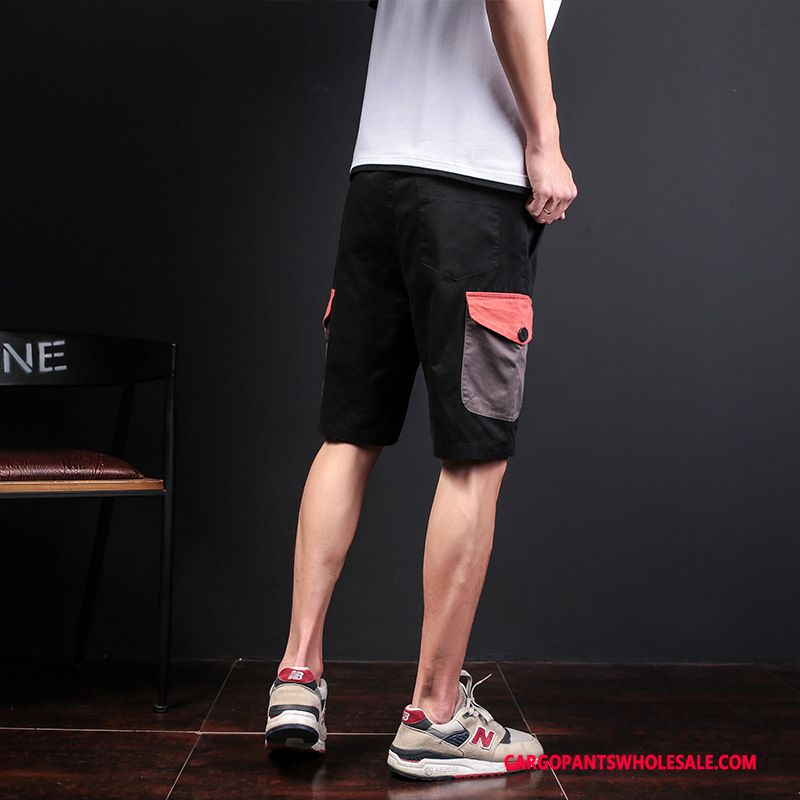 Cargo Shorts Men Black Personality Cargo Pants Shorts Loose
