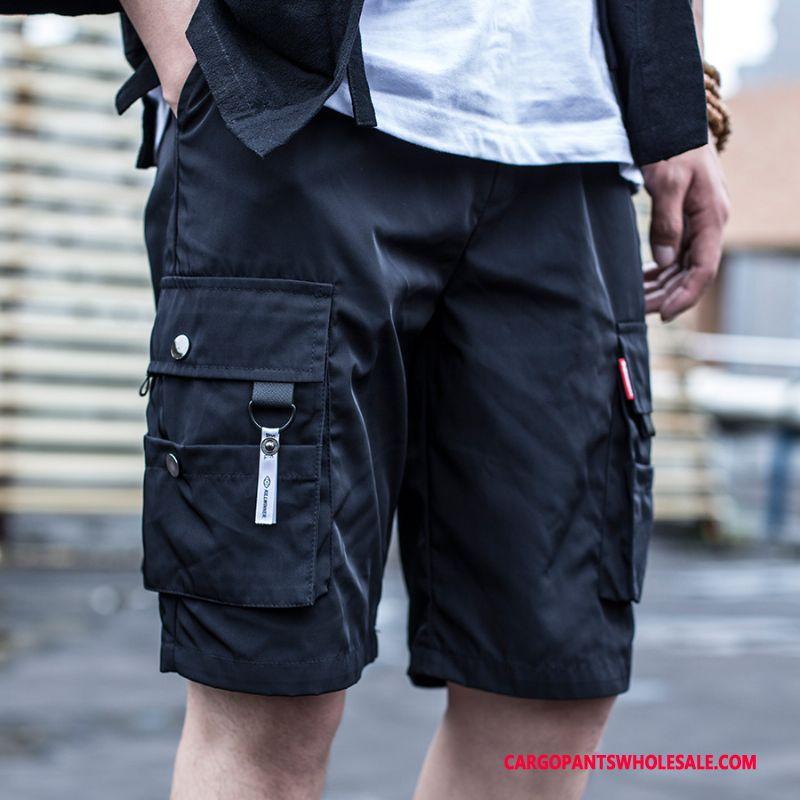 Cargo Shorts Men Black Shorts Tide Medium Cargo Loose