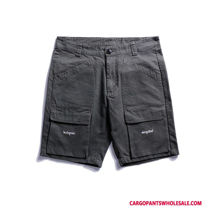 Cargo Shorts Men Black Simple Pocket Original Pants Shorts