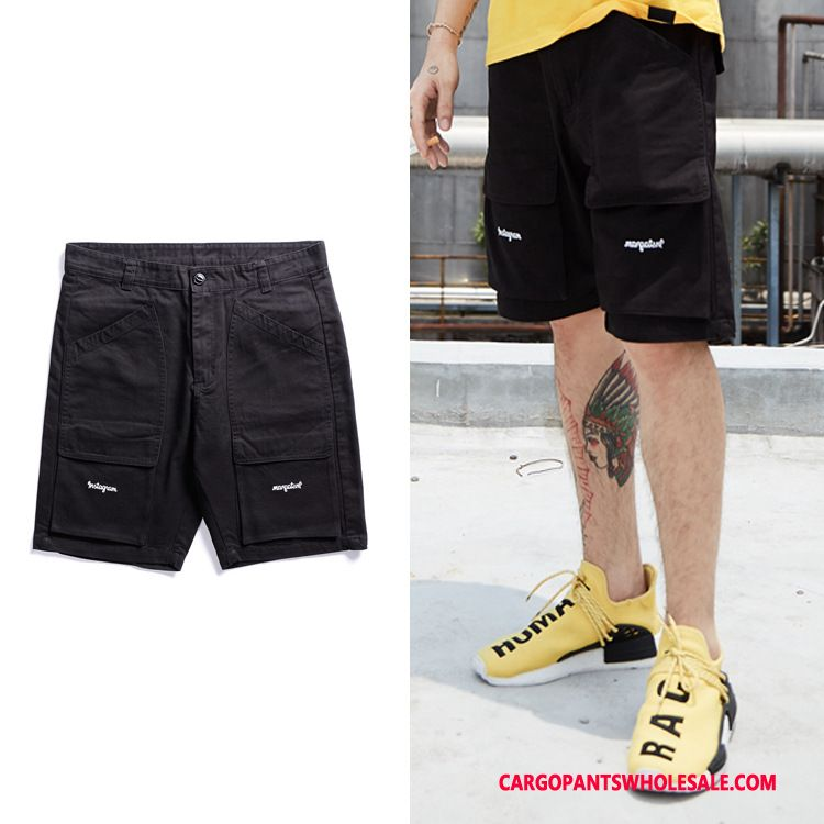 Cargo Shorts Men Black Simple Pocket Original Pants Shorts