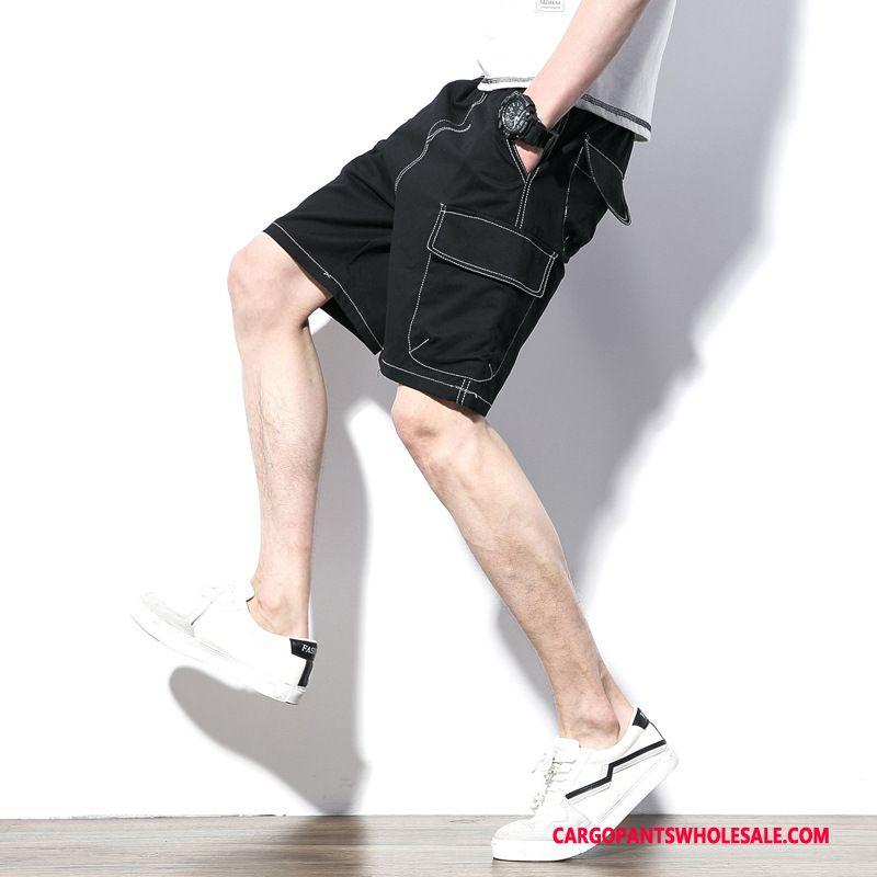 Cargo Shorts Men Black Summer Pants Cargo Leisure The New
