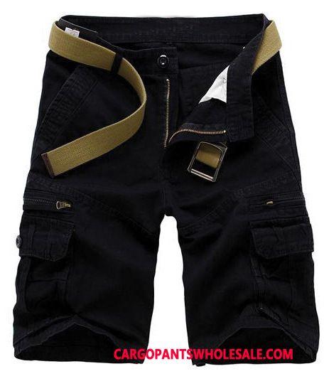 Cargo Shorts Men Black Super Large Size Cotton Straight Shorts