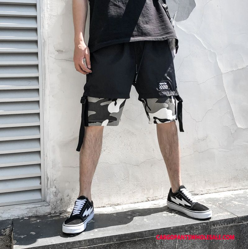 Cargo Shortsit Miehet Musta Shortsit Hip-hop Cargo Housut Shorts Housut