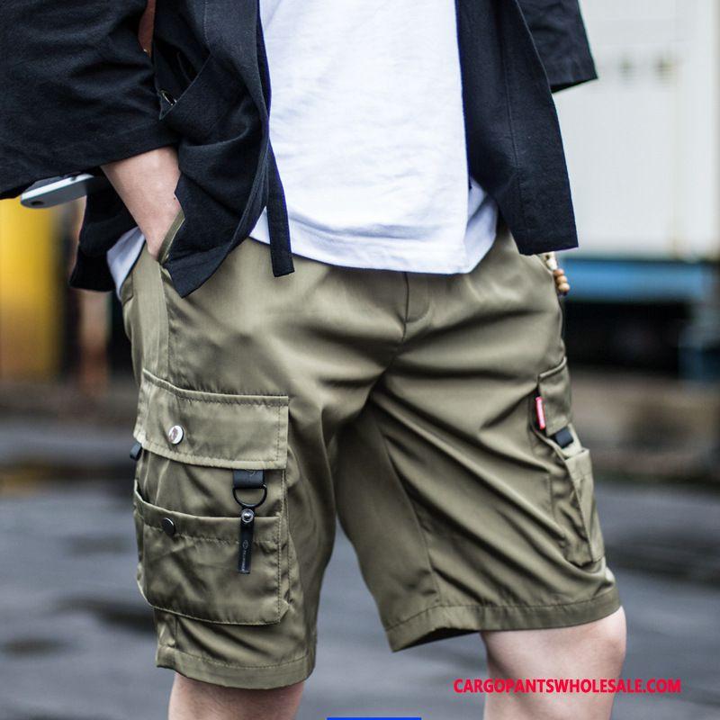 Cargo Shorts Men Black Tide Leisure Pants Cargo Multi-pocket