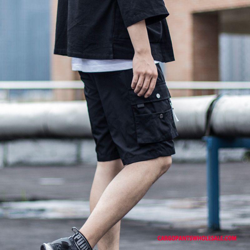 Cargo Shorts Homme Noir Multi-poche Pantalon Cargo Casual Baggy