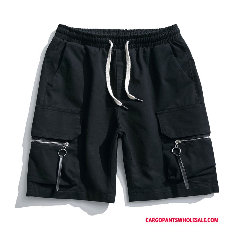 Cargo Shorts Men Black Zipper Large Size Cargo Washed Beach