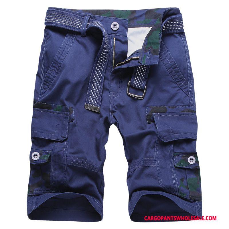 Cargo Shorts Men Blue Cotton Washed Casual Pants Shorts Large Size