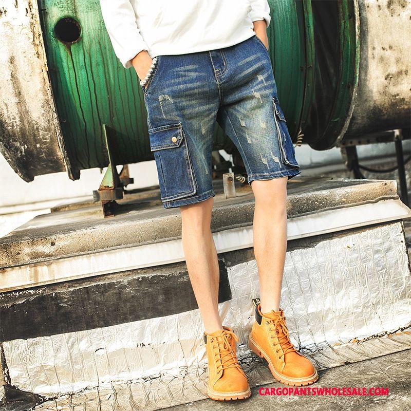 Cargo Shorts Men Blue Cowboy Large Size Elastic Force Shorts Fashion
