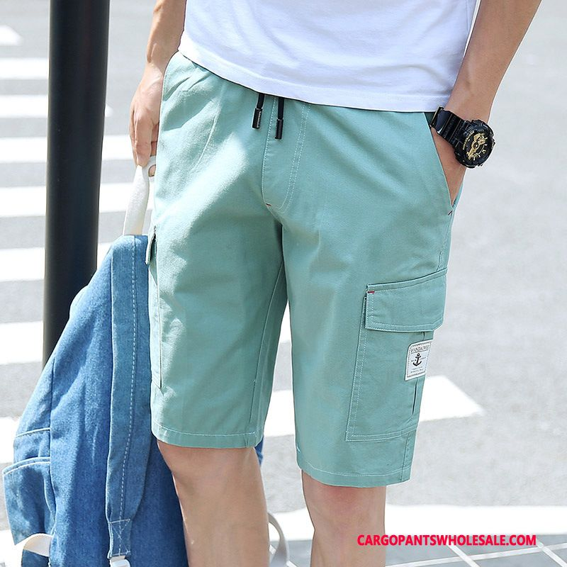 Cargo Shorts Men Blue Green Breathable Pants Cargo Solid Color Outdoor