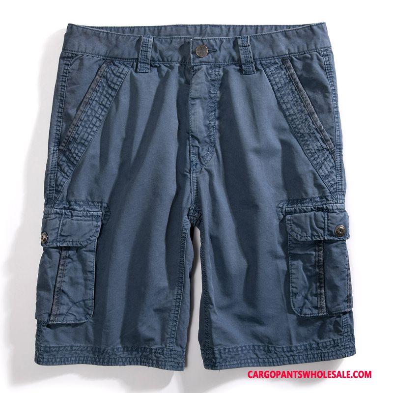 Cargo Shorts Men Blue Pants Trend Cargo Loose Large Size