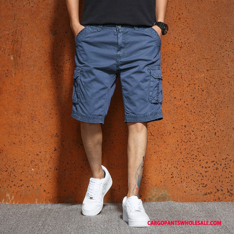 Cargo Shorts Men Blue Pants Trend Cargo Loose Large Size
