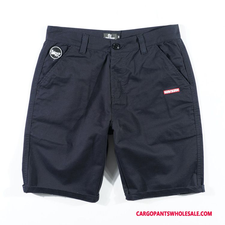 Cargo Shorts Men Blue Simple Straight Shorts Pants Tide Brand