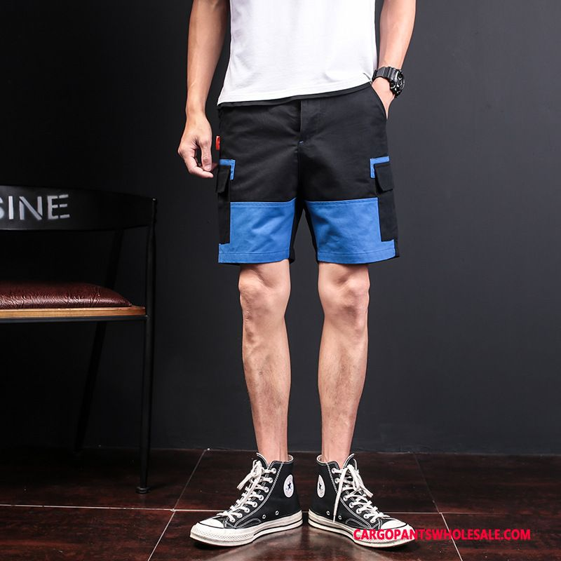 Cargo Shorts Men Blue Splice Explosion Motion Leisure Cargo Pants