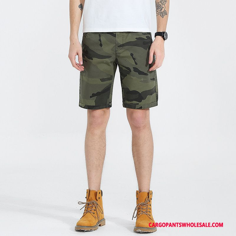 Cargo Shorts Men Camouflage Army Green Europe Shorts Washed Tide Brand Leisure