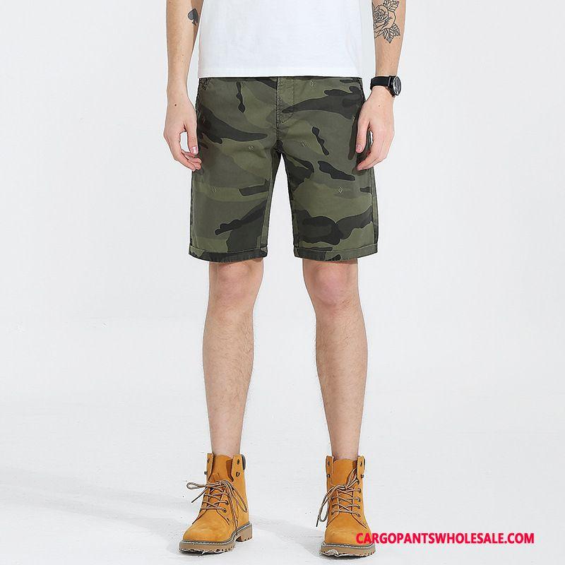 Cargo Shorts Herre Camouflage Army Grøn Med Broderi Cargo Bukser Europa Fritids Trendy